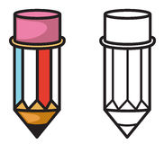 Colorful and black and white pencil for coloring book Stock Photo