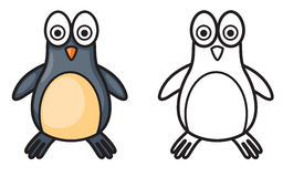 Colorful and black and white penguin for coloring book. Illustration of isolated colorful and black and white penguin for coloring book royalty free illustration