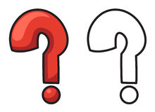 Colorful and black and white question mark for coloring book Royalty Free Stock Images