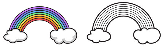 Colorful and black and white rainbow for coloring book. Illustration of isolated colorful and black and white rainbow for coloring book Royalty Free Stock Photo