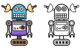 Colorful and black and white robot for coloring book. Illustration of isolated colorful and black and white robot for coloring book Royalty Free Stock Photography