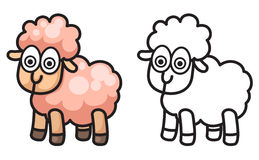 Colorful and black and white sheep for coloring book Royalty Free Stock Photography