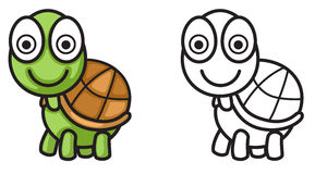 Colorful and black and white turtle for coloring book Royalty Free Stock Images
