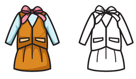 Colorful and black and white uniform for coloring book Royalty Free Stock Photo