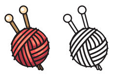 Colorful and black and white yarn for coloring book Royalty Free Stock Images