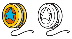 Colorful and black and white yo-yo for coloring book. Illustration of isolated colorful and black and white yo-yo for coloring book Royalty Free Stock Images