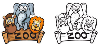 Colorful and black and white zoo for coloring book Royalty Free Stock Image