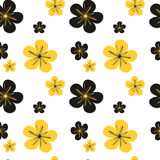 Colorful black yellow flowers seamless pattern background illustration Stock Photo