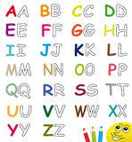Colorful & blank alphabet letters. Colorful and blank alphabet letters isolated on white background. Useful for educational proposals and/or coloring books for Stock Images