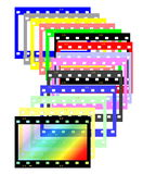 Colorful blank film strip frame. Isolated on white Royalty Free Stock Photos