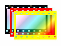 Colorful blank film strip frame isolated. On white Stock Photos