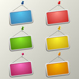 Colorful blank labels with pins template Stock Images