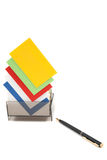 Colorful blank name cards in a box Royalty Free Stock Images
