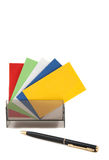 Colorful blank name cards in a box Stock Image