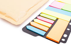 Colorful blank post-it paper in closeup on white background Royalty Free Stock Images