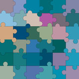 Colorful blank puzzle of 36 elements. Raster Stock Images