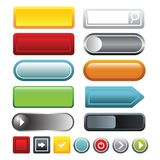 Colorful blank web button icons set, cartoon style royalty free illustration