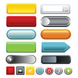 Colorful blank web button icons set, cartoon style Royalty Free Stock Photos