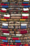 Colorful blanket sold at craft market in Peru. Colorful, hand made blankets sold at Peru local craft market stock image