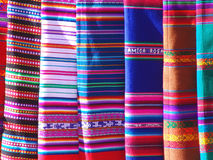 Colorful blankets. Colorfulo blankets on display at a Southwestern market Stock Photography
