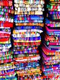 Colorful blankets in bolivian street market Stock Photos