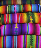 Colorful Blankets at a Guatemalan Market Royalty Free Stock Image