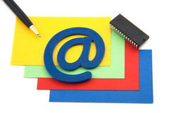 Colorful blansk cards with email symbol Stock Photo