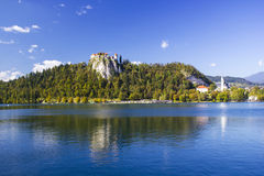 Colorful Bled in fall, with the rock top castle Royalty Free Stock Image