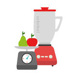 Colorful blender with kitchen weight scale and fruits Royalty Free Stock Photo