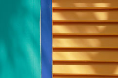 Colorful Blinds. Brightly painted wall, frame and window blinds Stock Photos