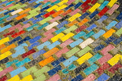 Colorful block floor in the garden2 Royalty Free Stock Photo