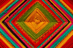 Colorful Block Pattern. Traditional handmade block pattern with thread Stock Images