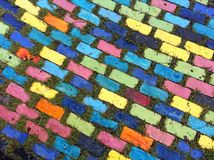 Colorful block patterns. Foot path block colorful pattern texture Stock Images