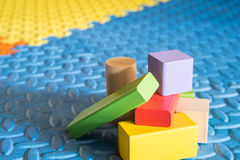 Colorful block toys. Colorful wooden block toys for kids stock photos