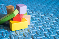 Colorful block toys. Colorful wooden block toys for kids royalty free stock photo