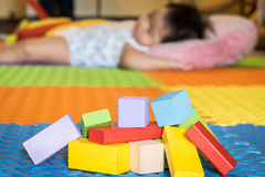 Colorful block toys. Colorful wooden block toys for kids stock photo