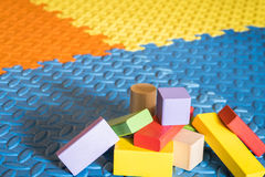 Colorful block toys. Colorful wooden block toys for kids stock image
