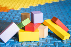 Colorful block toys. Colorful wooden block toys for kids royalty free stock photos