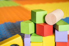 Colorful block toys. Colorful wooden block toys for kids royalty free stock images