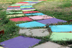 Colorful block walkway in the garden. Which is designed for walking around the garden Royalty Free Stock Images