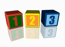 Colorful blocks with 123 numbers. Colorful blocks with 123 numbers, reflected on the floor Royalty Free Stock Image