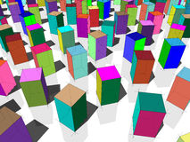 Colorful blocks. Colorful transparent blocks standing on white reflective ground Stock Image