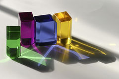 Colorful Blocks. A grouping of four back lit transparent colorful acrylic blocks Royalty Free Stock Photos