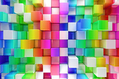 Colorful blocks abstract background. 3d render stock illustration