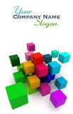 Colorful blocks background. 3D rendering of a multicolored cubic background Stock Photography