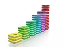 Colorful Blocks Business Growth Bar Chart. A 3D illustration of a business growth bar chart made of colorful thin blocks. It can be used to in financial and Stock Photo