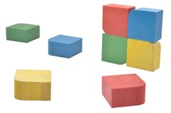 Colorful blocks for children. Colorful wooden blocks for children against white background Royalty Free Stock Image