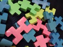 Colorful blocks for children on black background stock photos
