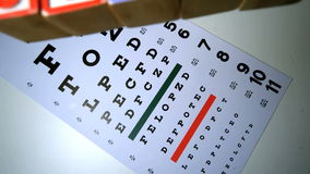 Colorful blocks spelling out sight falling on eye test stock footage