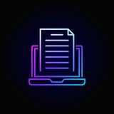 Colorful blogging icon. Vector laptop with document creative outline sign or logo element on dark background Stock Photography